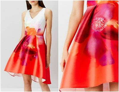 ex Coast Floral Races Wedding Prom Formal Cocktail Occasion Dress RRP£159 SALE