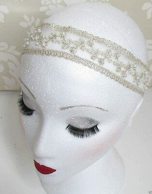 SALE Ivory Cream Champagne Gold Lace Pearl Headband Flapper Gatsby 1920s 3471