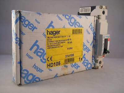 Hager MCCB 40 Amp Single Pole 40A Circuit Breaker H125D HD105 NEW