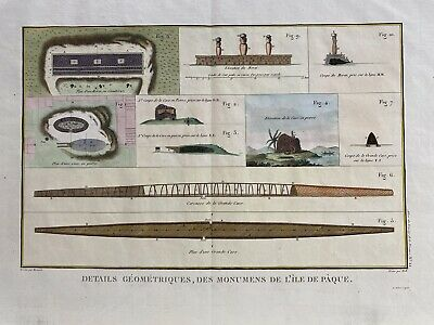 Antique Print of Easter Island, 1797. Strong impression, modern colouring.