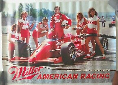 Vintage Beer Poster Miller Danny Sullivan All American Pit Crew 1985 Indy Racing