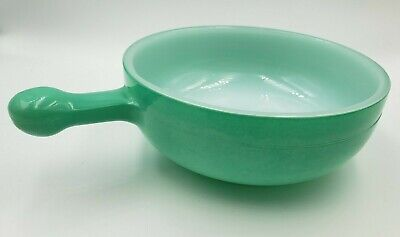 """Vintage Glasbake Green Teal Jade 5"""" Bowl with Handle, Made in USA J-2057-17"""