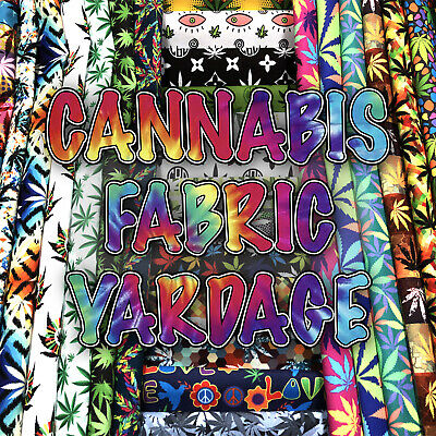 """Marijuana Prints Home Decor Fabric Polyester 62"""" W Sold by the Yard"""