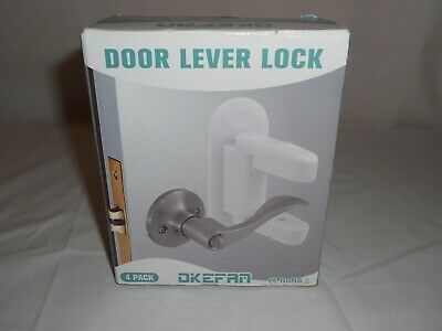 New Child Proof Door Lever Lock Four (4) Pack by Okefan, New In Box