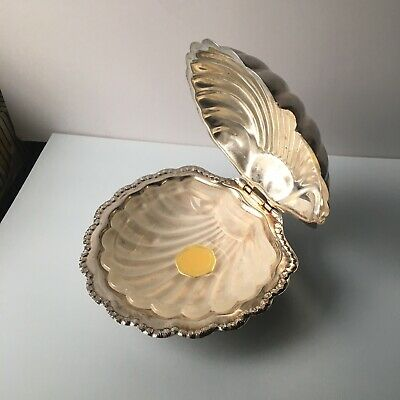 Vintage Seashell Shaped Silver Plated Butter Dish And Glass Frosted Unser