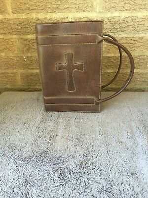 Stitched Leather Bible Book Cover with Handles Medium NIV Hardback sized