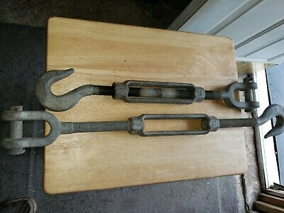 """LOT OF 2. 7/8"""" TURNBUCKLE - Hook/JAW FORGED Galvanized Tensioner  21"""" - 27"""""""