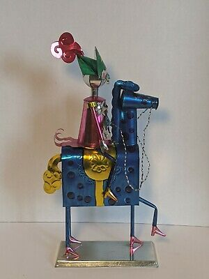 "Punched Tin Soldier On Horse Mexican Mexico Folk Art 14"" Tall"