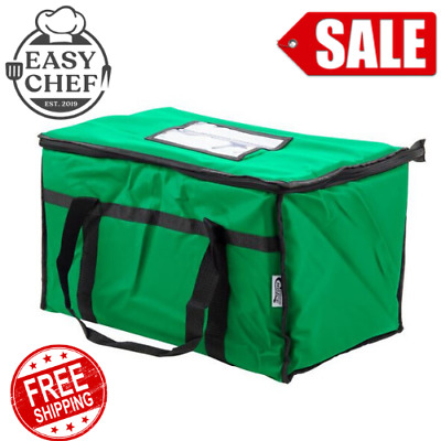 """Insulated Food Delivery Bag Pan Carrier Green Nylon Standard 23"""" x 13"""" x 15"""""""