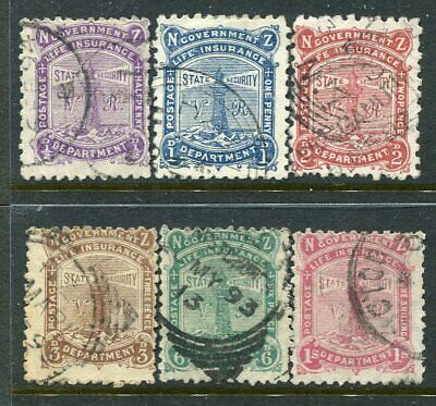NEW ZEALAND....  1891 Life Insurance  complete set  used.... cv $850nzd