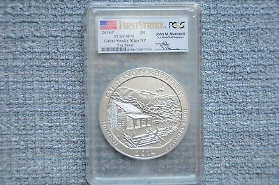 2014-P Great Smoky Mtns. Tennessee  NP ATB  5 oz. Silver PCGS SP70  FS  Mercanti