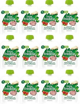 Little Freddie Organic Baby Food (12 x 130g) Grass Fed Beef Lasagne Pouch STAGE2