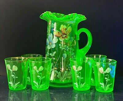 Antique Jefferson Optic Hand Painted Uranium Glass Water Pitcher & 6 Glasses