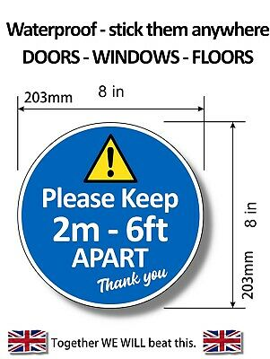 "FLOOR STICKERS Please Keep 2m Apart Graphic - 8"" 200mm MultiPacks"
