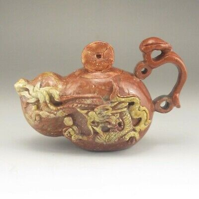 Chinese Hand-carved Natural Red & Yellow Shoushan Stone Teapot w Dragon
