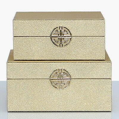 Set Of 2 Golden Faux Leather Jewellery Box Case Organiser Storage Jewelry Boxes