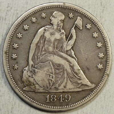 1849 Seated Liberty Dollar, Fine+, Popular Gold Rush Date  0421-99