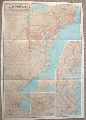 Vintage 1931  National Geographic Map Travels of George Washington 1732-1788