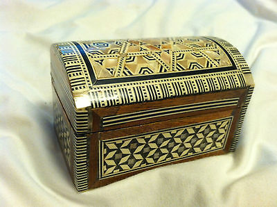 "VINTAGE Duck Egg Shell Inlay Teak Lacquerware Trinket Box 5/""x3.5/"""