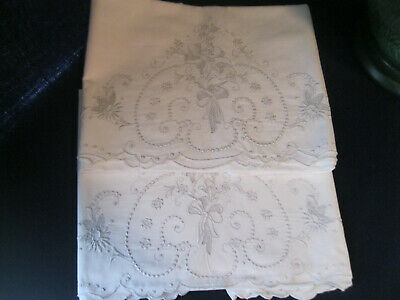 Vintage Pair Madeira Embroidered Pillow Cases - Pair #1