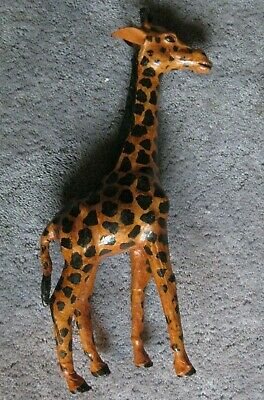 """Vintage African Giraffe Tall Leather Wrapped India Figure Lion King 16.5"""" Statue"""