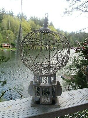 """Antique Victorian Style Birdcage Wood and Wire Sphere Hot Air Balloon 18"""" X 10"""""""