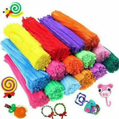 100* Kids Colorful Diy Plush Chenille Sticks Stems Pipe Cleaner Educational Toys