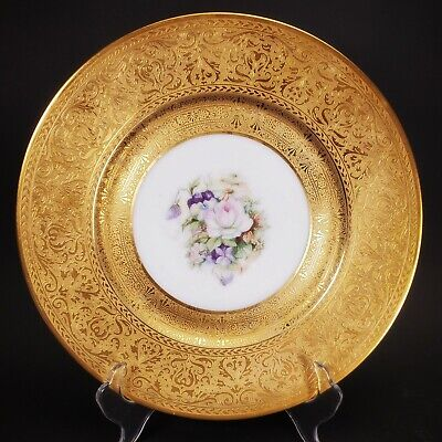 "Beautiful German Heinrich 10 1/2"" Gold Encrusted Dinner Cabinet Plate w/ Floral"