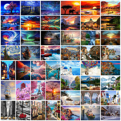 DIY Paint By Number Kit Digital Oil Painting Art Home Decor Sea Sunset Scenery