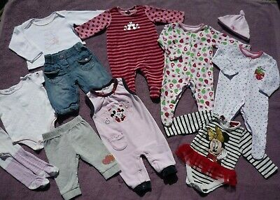 Baby Girls Bundle of Clothes Jeans Top Sleepsuit Baby Grow Romper Body Suit 0-3m