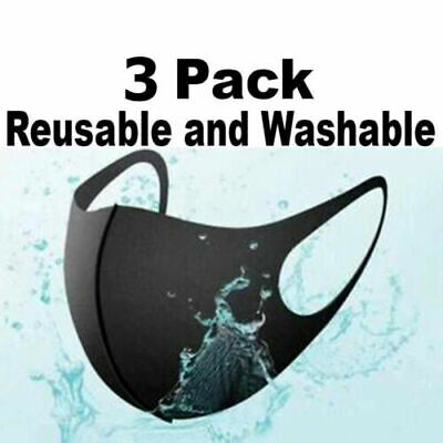 3Pcs Black 3D Face Protective Masks Washable Reusable Unisex Mascaras US Seller