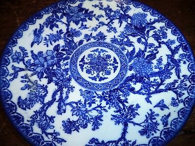 ANTIQUE Blue&White Canton Asian Chinese Porcelain Plate-Charger-Dish