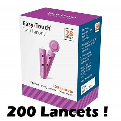 200 EASYTOUCH 28G Latex Free PREMIUM Sterile Lancets - 2 Boxes of 100 - NIB