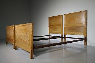 Pair of Antique Oak Single Beds by Heals of London