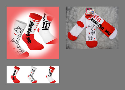 6 x pairs One Direction 1D ANKLE Socks COTTON RICH Size 4 - 6.5 BRAND NEW
