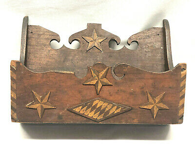 Antique Sailor Made Wall Box Carved Heart Stars Diamond