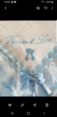 PERSONALISED white/blue baby boys shawl *NEW* for christening or everyday use