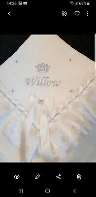 PERSONALISED beautiful White baby shawl **NEW** for christening or everyday use
