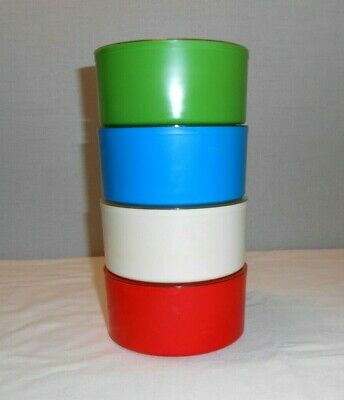 Vintage MCM Lidded Stackable Plastic Containers Lot Of 4 Red, Blue, White, Green