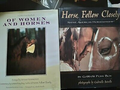 Horse follow closely of women and horses