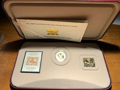 2001 CANADA 3 Cent Gold Plated Coin & Postage Stamp Set 150th Anniversary