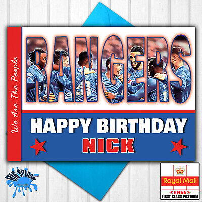 LARGE A5 GLOSSY PERSONALISED QPR QUEENS PARK RANGERS BIRTHDAY CARD