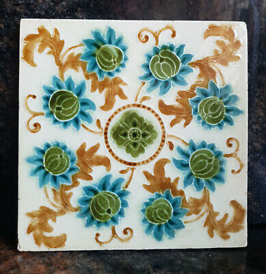 An English Art Nouveau Tile- Impressed Majolica - Very Good Condition
