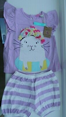 Joules Purple Baby Girl T Shirt & Shorts Set Age 9-12 months BNWT RRP £27.95
