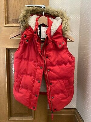 Fat Face Girls Hooded Padded Gilet Red Size 10-11 Years Excellent Condition