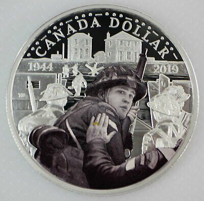 Canada 2019 $1 D-Day 75Th Anniversary 99.9% Proof Silver Colored Dollar Coin