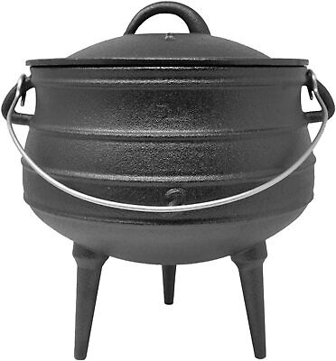 Big BBQ Potjie South African Cast Iron Cooking Pot Alternative to Dutch Oven Gar