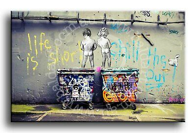 Wall Art Canvas Picture Print Banksy Life is Short Framed