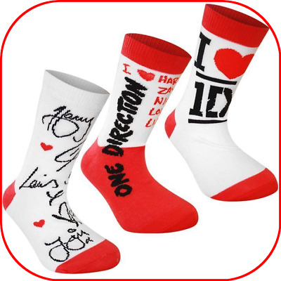 3 x pairs One Direction 1D ANKLE Socks COTTON RICH Size 4 - 6.5 BRAND NEW
