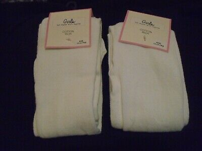 Ex-Store Quality Girls ribbed white tights  TWO PAIRS age 2 up to 12 years